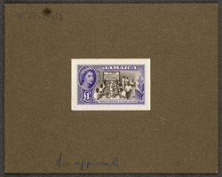 Jamaica: 1956-58 £1 chocolate and violet, unissued, a colour proof.